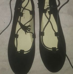 Black Flat Lace Up Shoe